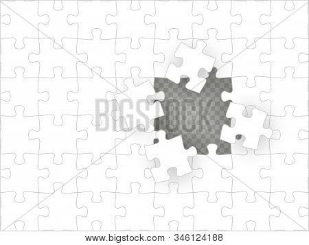 Blank White Puzzle With Hole Isolated On Transparent Background. Concept Image Of Unfinished Task. S