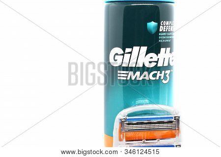 Ukraine, Kremenchug - January, 2020: Gillette Shaving Gel On White Background. Gillette Is An Brand