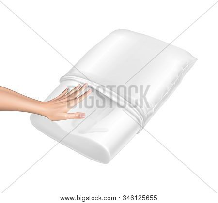 3d Realistic Orthopedic Pillow From Natural Latex With Memory Effect. Hand Touches White Cozy Cushio