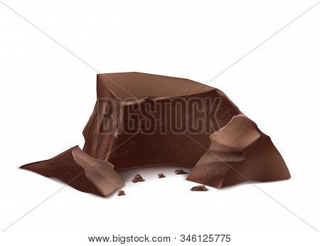3d Realistic Chocolate Pieces. Brown Delicious Bars For Packaging Mock Up, Package Template. Cocoa T