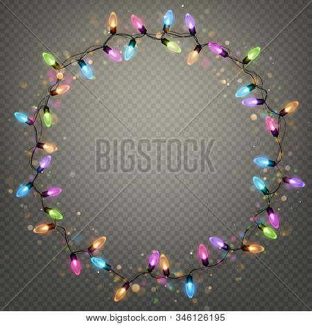 Glowing Christmas Garland Ring Lights Isolated Realistic Shine Lamps Element For Greeting Card Desig