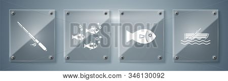 Set Fishing Boat With Oars On Water, Fish, Fish And Fishing Rod. Square Glass Panels. Vector