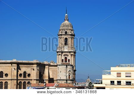 Malaga, Spain - July 11, 2008 - Elevated View Of The Cathedral Bell Tower, Malaga, Malaga Province,