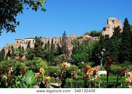 Malaga, Spain - July 11, 2008 - View Of The Castle Seen From The Pedro Luis Alonso Gardens, Malaga,
