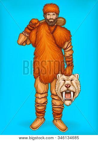 Pop Art Caveman In Fur Pants, Clothes And Footwear. Hunter Holds Wild Animal Head, Prey. Neanderthal