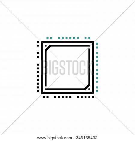 Processor Line Vector Icon For Websites And Mobile Minimalistic Flat Design. Mini Cpu Icon Flat Styl