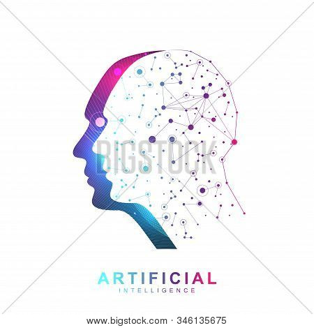 Artificial Intelligence Logo Banner Neural Network Cybernetics Robotics Machine And Deep Learning. V