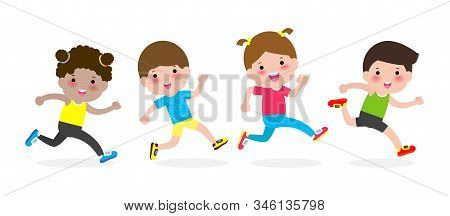 Happy Kids Jogging For Healthy. Cartoon Character Children Running Vector Illustration Isolated On W
