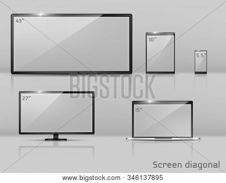 3d Realistic Set Of Different Screens - Notebook, Smartphone Or Tablet. Modern Technology In Size Va