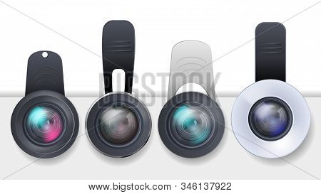 Realistic Set Of Clip-on Lenses For Mobile Devices, Smartphones And Tablets Isolated On White Backgr