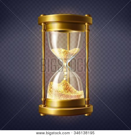 Realistic Hourglass, Antique Clock With Golden Sand Inside, Isolated On Background. Sandglass Is Dev