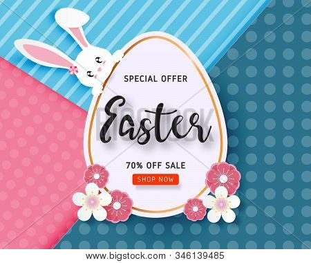 Happy Easter Sale Banner Template With Easter Egg And Flower On Background In Paper Cut Style. Vecto