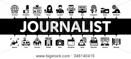 Journalist Reporter Minimal Infographic Web Banner Vector. Journalist And Hand With Microphone, Vide