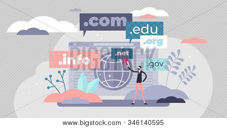 Domain Name Concept Flat Tiny Person Vector Illustration. Stylized Abstract Web Address Registry Sce