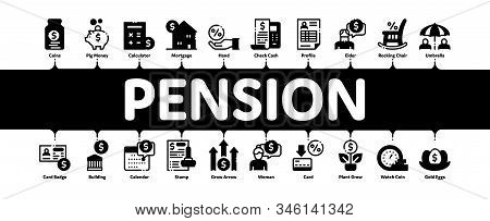 Pension Retirement Minimal Infographic Web Banner Vector. Money In Glass Bottle And Box, Calculator
