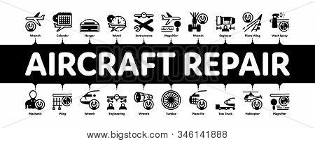 Aircraft Repair Tool Minimal Infographic Web Banner Vector. Aircraft Engine And Chassis, Helicopter