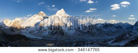 Evening Sunset Panoramic View Of Mount Everest And Mount Nuptse With Beautiful Blue Sky And Clouds F