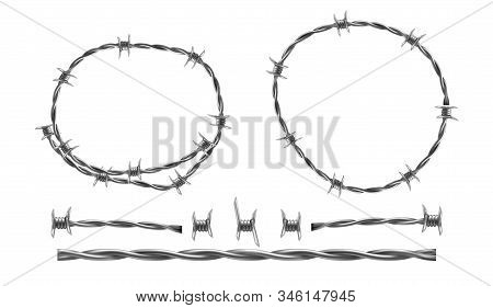 Barbed Wire Realistic Illustration, Separate Elements Of Barbwire Isolated On White Background. Twis