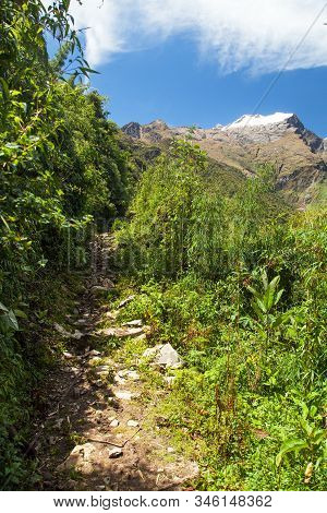Choquequirao Trekking Inca Trail, Pathway From Coquequirao To Machu Picchu In Peru