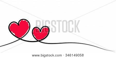 Valentines Day. Continous Line Heart Shape Border With Painted Heart On White Background. Valentines