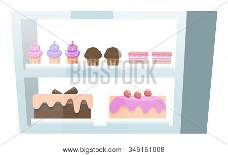 Showcase With Baked Desserts Inside. Chocolate And Biscuit Cupcakes And Cakes Decorated With Berries