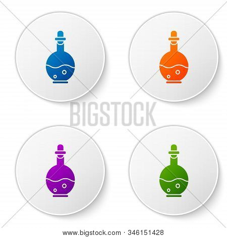 Color Glass Bottle With Magic Elixir Icon Isolated On White Background. Computer Game Asset. Set Ico