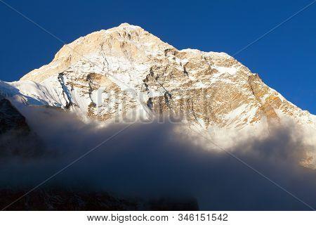 Mount Makalu With Clouds, Nepal Himalayas Mountains, Barun Valley, Evening View