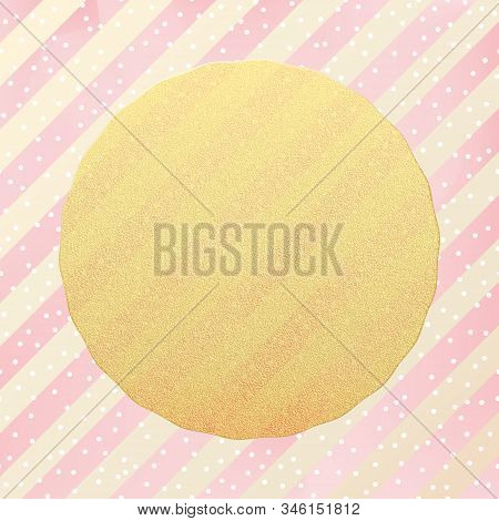Greeting Card Template. Gold Glitter White Dots Confetti On Striped Background. Eps 10