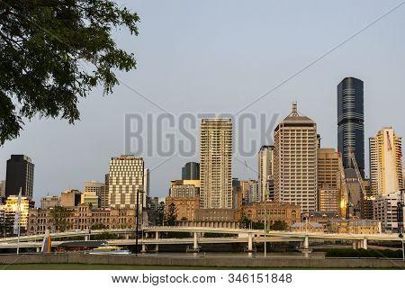Brisbane Centre In Golden Light At Dusk
