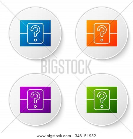 Color Mystery Box Or Random Loot Box For Games Icon Isolated On White Background. Question Box. Set