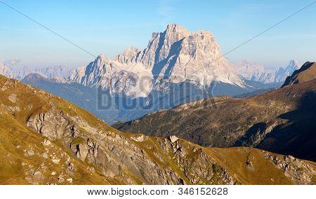 Evening View Of  Mount Pelmo, South Tirol, Alps Dolomites Mountains, Italy