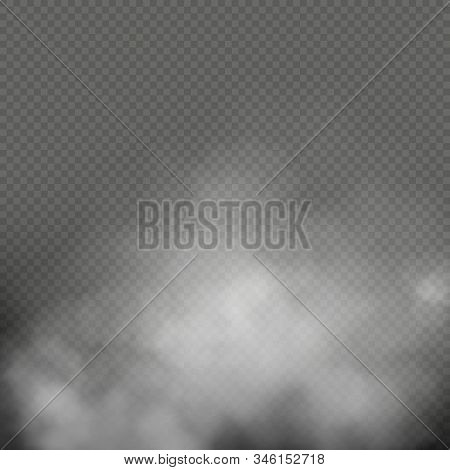 White Fog, Smoke Or Mist On Transparent Background. Special Effect Composition. Eps 10