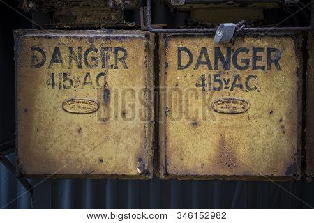 Danger High Voltage On Power Boxes At Abandoned Factory