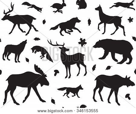 Vector Seamless Pattern Of Black Forest Animals Silhouette Isolated On White Background