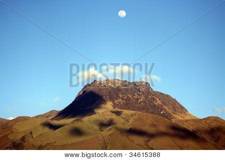 Mount Imbabura under a full moon