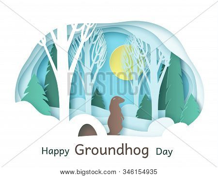 Happy Groundhog Day. February 2. Vector. Paper Cut Design For Printing Greeting Cards, Banners, Post