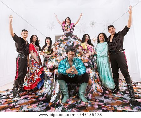 Group Of Gypsies Speaking At A Gypsy Dance Show.