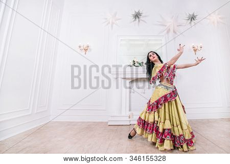 Gypsy Woman Performing A Passionate Dance. Photo With Space For Text