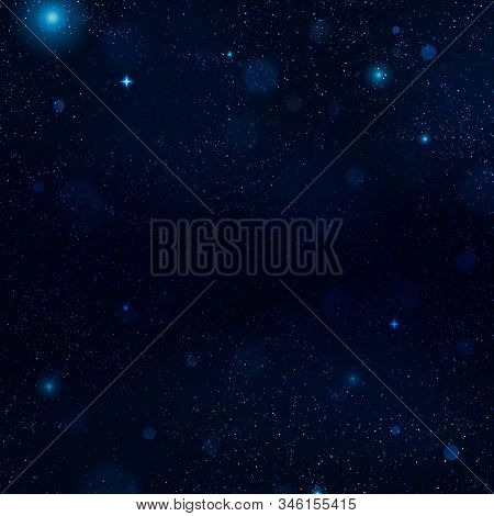 Realistic Blue Starry Night Sky With Soft Light. Universe Filled With Stars, Nebula And Galaxy. Eps