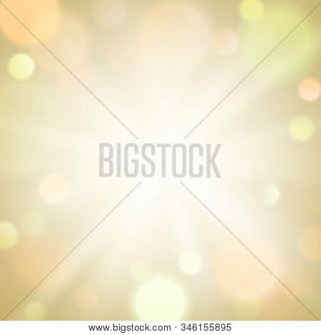Gold Burst Light Sparkle Bokeh Blur Background. Circle Light On Beige Background. Eps 10