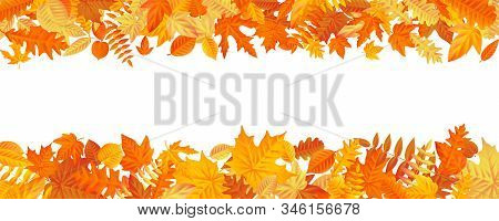 Frame With Fall Autumn Colorful Leaves On White Background. Eps 10