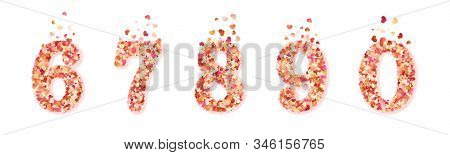 Set Of Valentines Day Colorful Decorative Hearts Confetti Numbers. Isolated On White Background. Eps