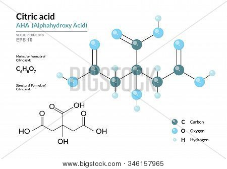 Citric Acid. Aha Alphahydroxy Acid. Structural Chemical Formula And Molecule 3D Model. Atoms With Co