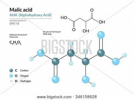 Malic Acid. Aha Alphahydroxy Acid. Structural Chemical Formula And Molecule 3D Model. Atoms With Col