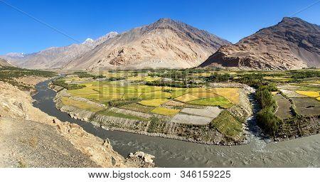 Fields Aroun Panj River, Gorno-badakhshan, Tajikistan And Afghanistan Border, Wakhan Corridor, Hindu