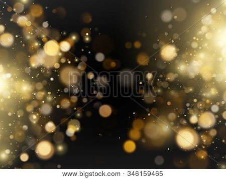 Abstract Defocused Bright Golden Luxury Glitter Bokeh Lights Background. Eps 10