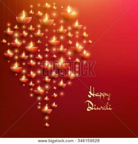 Happy Diwali Card Template. The Indian Festival Of Lights. Eps 10