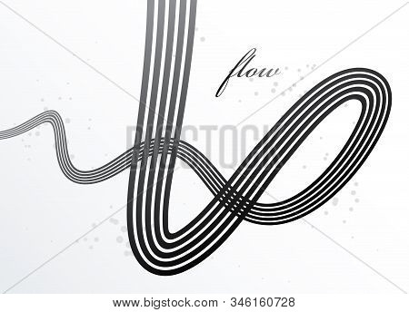 Abstract Lines In 3d Motion Dimensional Perspective Vector Background, Elegant Curvy Light Stripy De