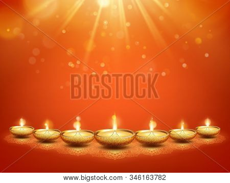 Happy Diwali Hindu Festival Of Lights Greeting Card Template. India Holiday. Eps 10