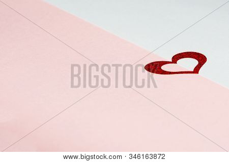 Valentines Day Love Card With Red Heart On Pink And Blue Background, Mother Day Celebration Design,